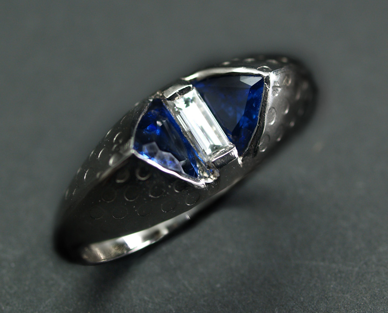Platinum Ring Sapphires and Diamond