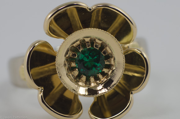 Shamrock Emerald Ring 22/18/9ct Gold